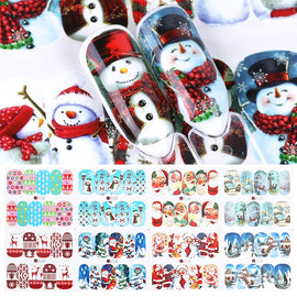 12pcs Christmas Nail Stickers Water Decals Snowman Santa Clause Deer Nail Art New Year Slider Manicure Full Wraps Tool JIA/BN