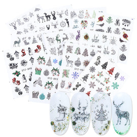 12pc New Year Nail Art Transfer Sticker Full Wraps Set Christmas Winter Decal Snowflake Sliders Manicure Decoration TRSTZ892-905