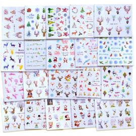1 Sheet Xmas Sticker for Nail Decals Snow Flower Deer Beauty DIY Watermark Nail Art Christmas New Year Decor