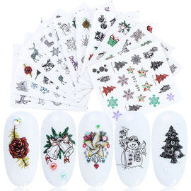 12pc/set Nail Water Decals New Year Transfer Sticker Winter Christmas Nail Art Decor Wraps Flakes Slider Manicure LASTZ892-905-1