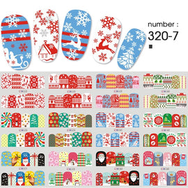 12 pieces Christmas Nail Stickers Water Decals Snowman Santa Claus Nail Art New Year Slider Manicure Full Rounds Tool BN