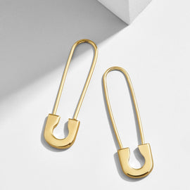 2020 BA Statement Gold Safety Pin Dangle Earrings for Women Trendy Crystal Paperclip Hook Earring Dainty New Year Gift Wholesale