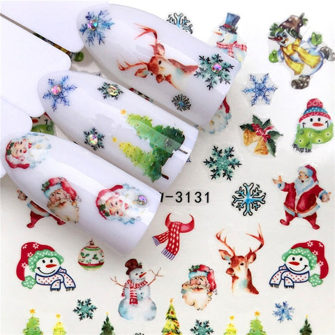 1 Sheet Xmas Snow Pattern New Year Christmas Nail Art Water Transfer Decal Sticker Slider Tip Manicure Decoration Tool Wrap