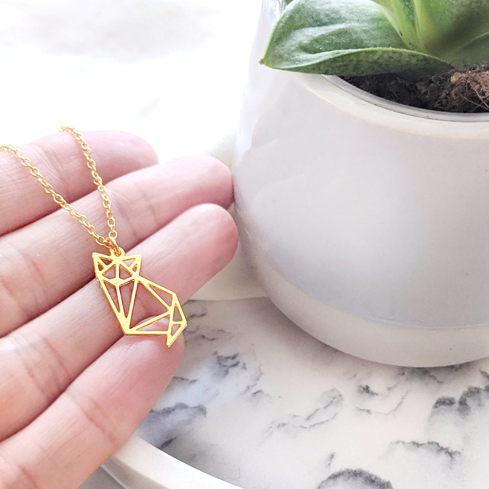 Load image into Gallery viewer, Cat Origami Necklace Gold / Silver - Shany Design Studio Jewellery Shop