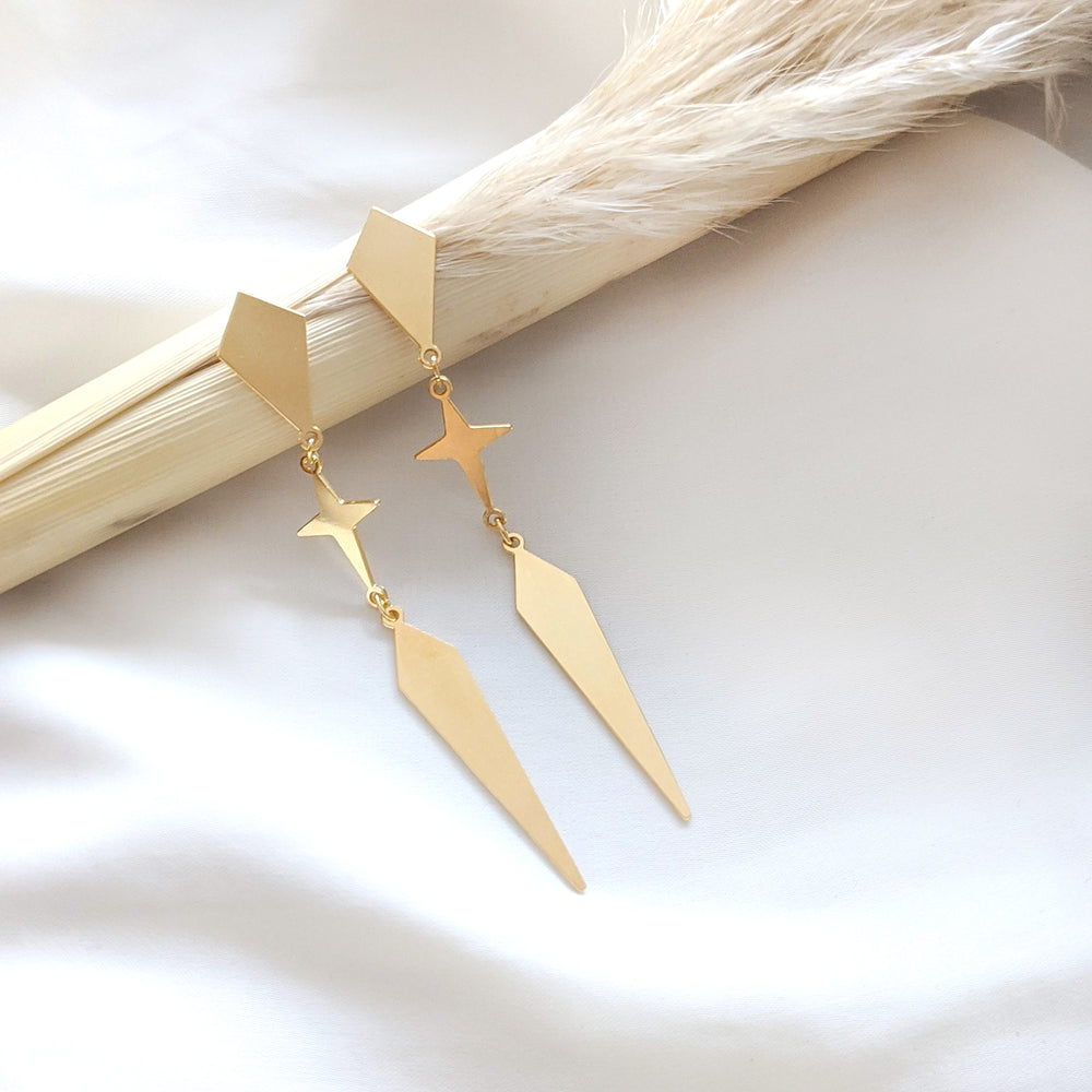 Rhombus and star long Twain Earrings gold