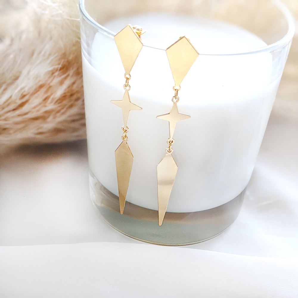 Load image into Gallery viewer, Rhombus and star long Twain Earrings- gold