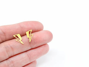 Lightning Bolt Stud Earrings Gold / Silver - Shany Design Studio Jewellery Shop