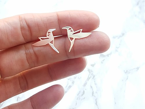 Hummingbird Origami Stud Earrings Gold / Silver - Shany Design Studio Jewellery Shop