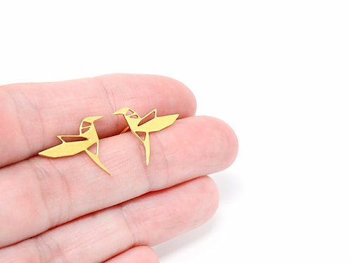 Hummingbird Origami Stud Earrings Gold / Silver
