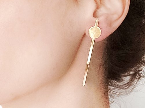 Long round stripe studs earrings Gold / Silver - Shany Design Studio Jewellery Shop