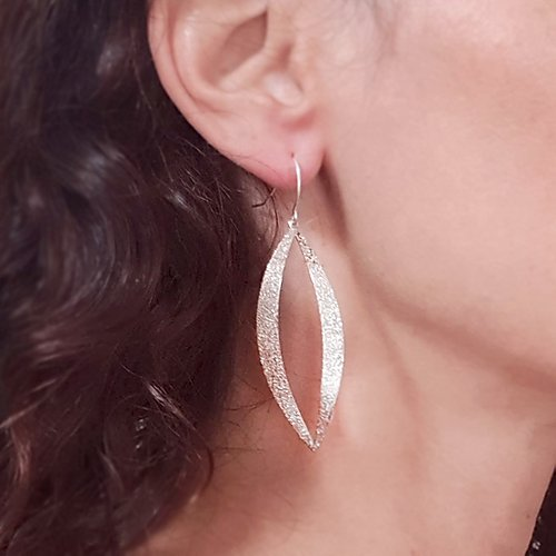Long Leaf Sparkling Earrings Gold / Silver - Shany Design Studio Jewellery Shop