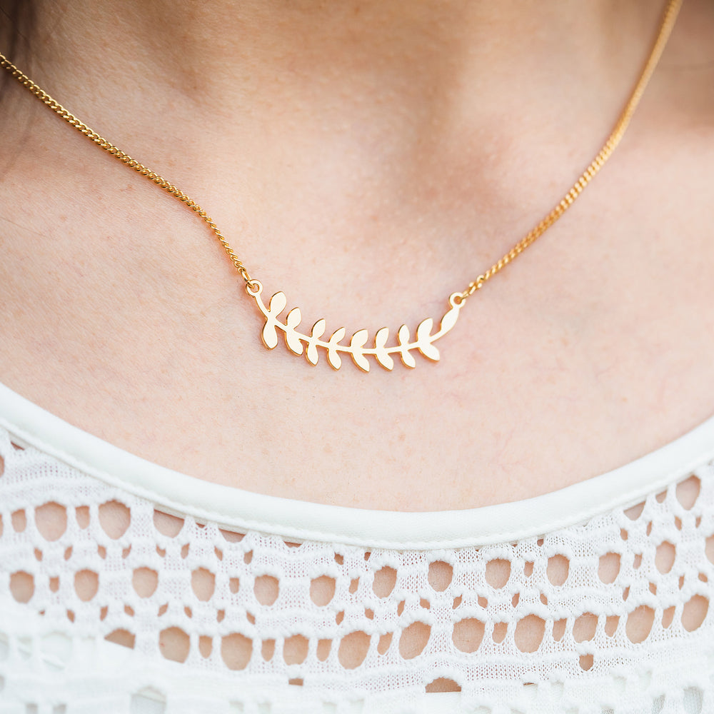 Load image into Gallery viewer, Laurel leaves branch necklace Gold / Silver - Shany Design Studio Jewellery Shop
