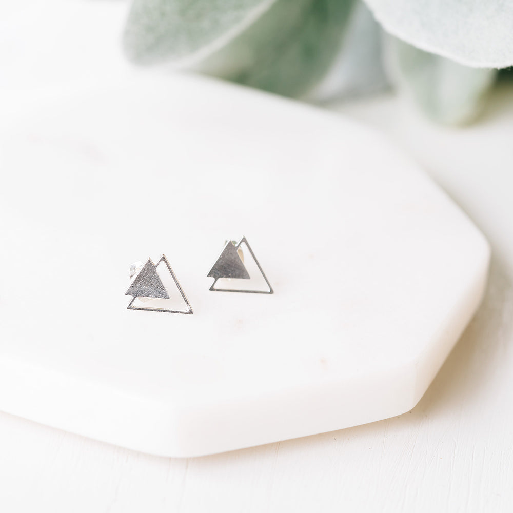Triangle Twain Earrings Gold / Silver