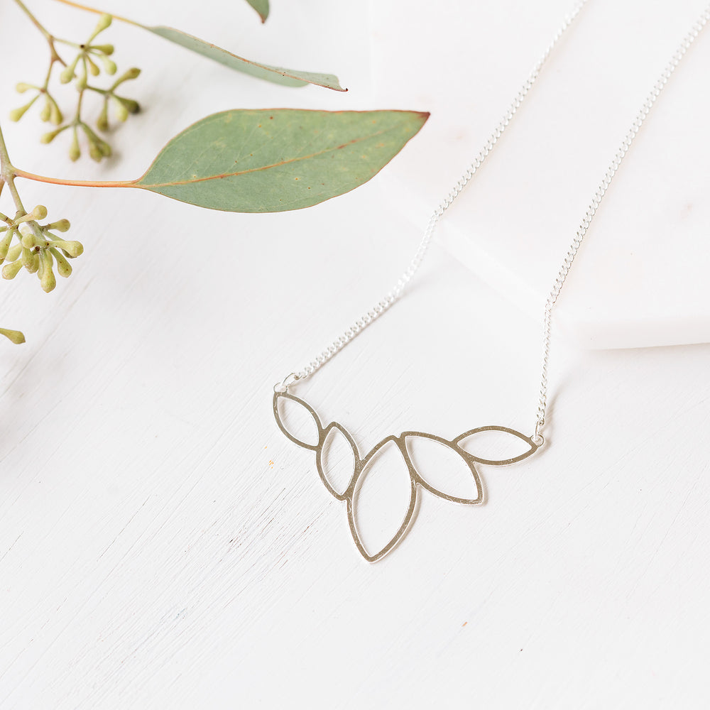 Lotus silver minimalist necklace