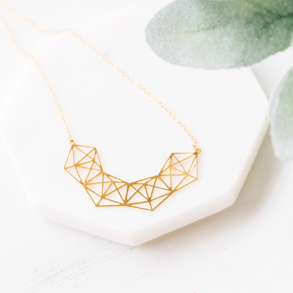Geometric Statement Sparkle Necklace Gold / Silver