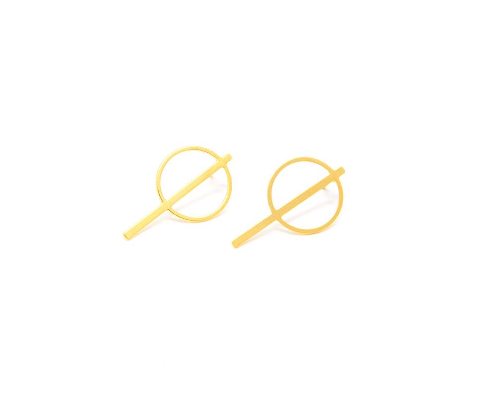 Circle Strip Geometric Studs Gold / Silver - Shany Design Studio Jewellery Shop