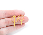 Circle Strip Geometric Studs Gold / Silver