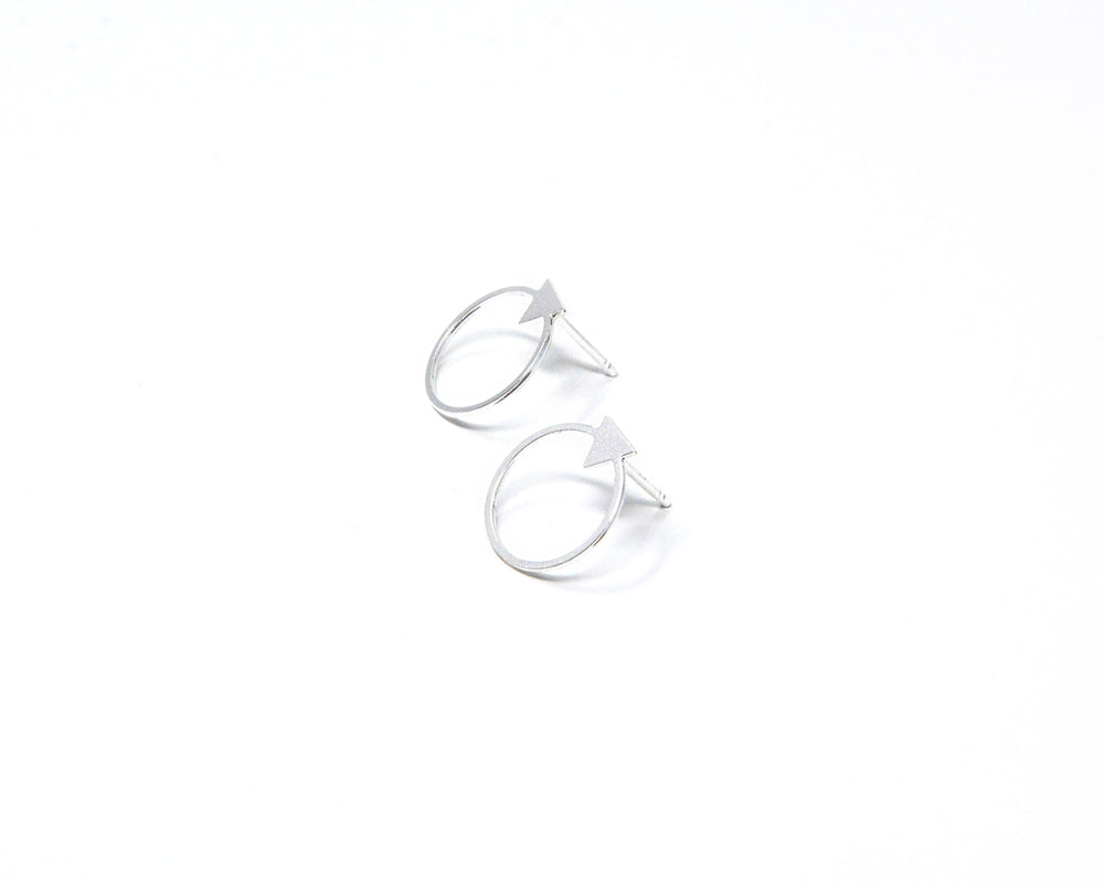 Load image into Gallery viewer, Circle with Small Triangle Stud Earrings Gold / Silver - Shany Design Studio Jewellery Shop