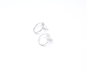 Circle with Small Triangle Stud Earrings Gold / Silver - Shany Design Studio Jewellery Shop