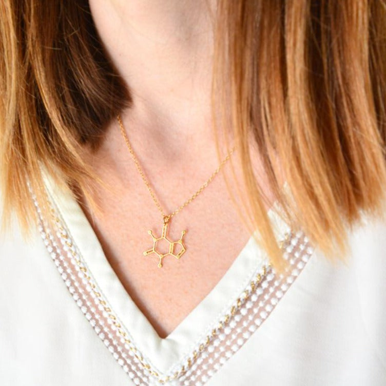 Load image into Gallery viewer, Caffeine Molecule Necklace Gold / Silver - Shany Design Studio Jewellery Shop