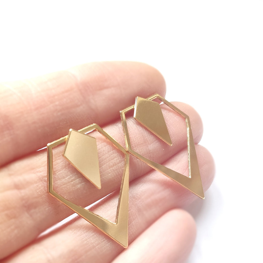 Load image into Gallery viewer, Rhombus ear jacket Gold / Silver - Shany Design Studio Jewellery Shop