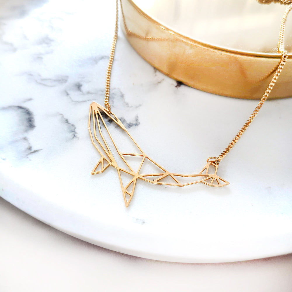 Origami Whale Necklace Gold / Silver