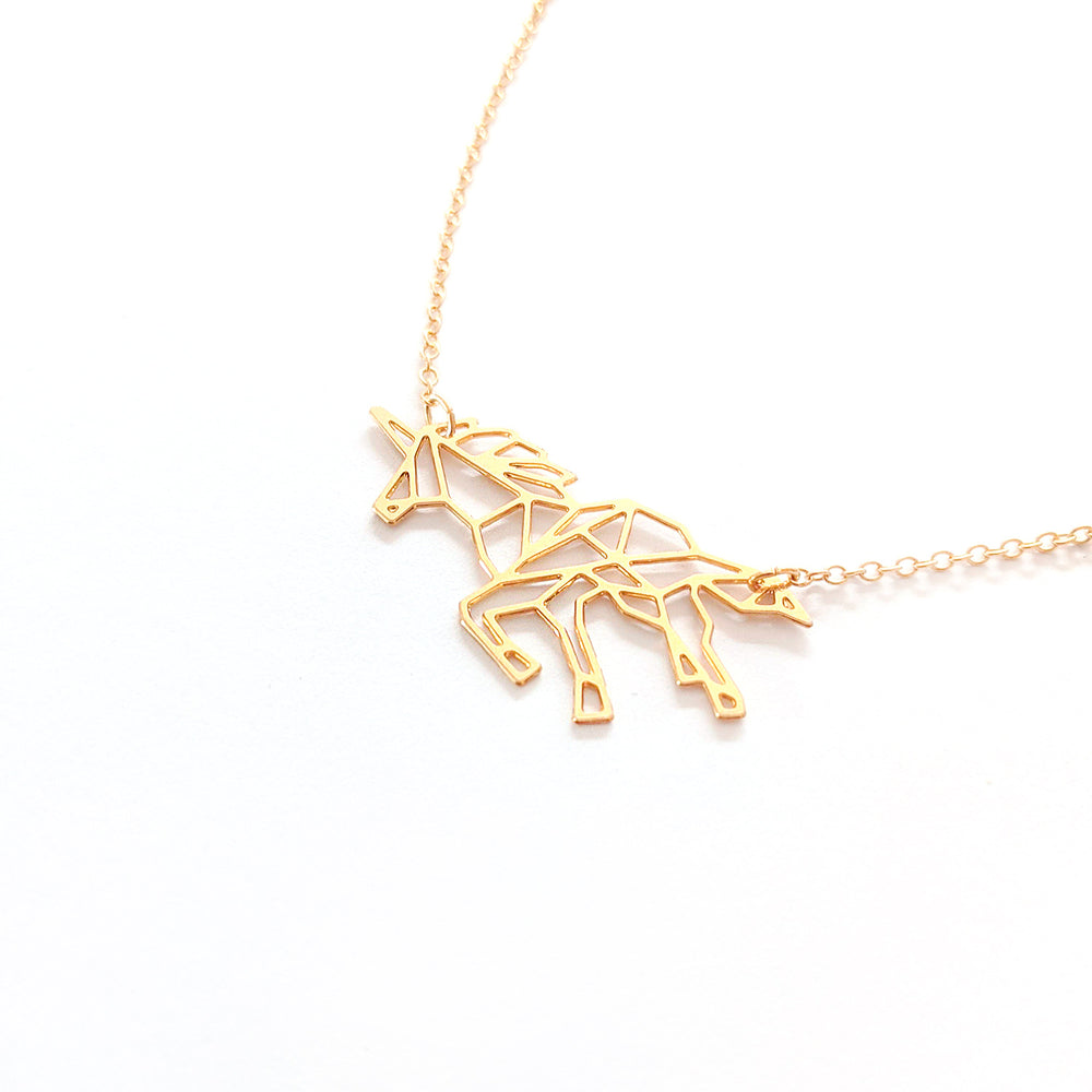 Geometric Origami Unicorn Necklace Gold / Silver - Shany Design Studio Jewellery Shop