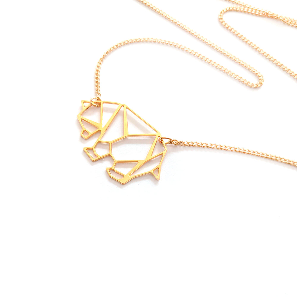 Origami Bear Necklace, Mama Bear Gold / Silver - Shany Design Studio Jewellery Shop