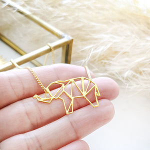 Elephant Necklace Origami Geometric Gold / Silver - Shany Design Studio Jewellery Shop