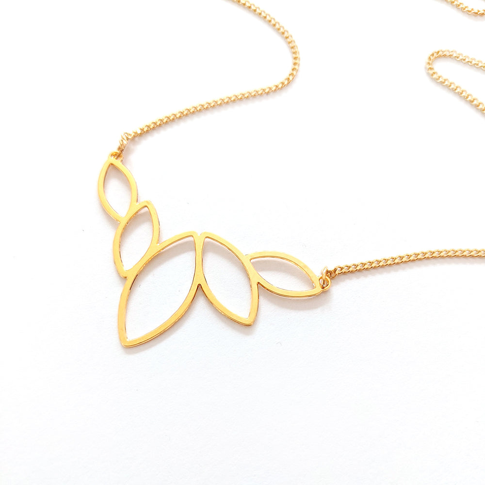 Lotus charm gold necklace - statement necklace