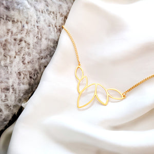 Lotus drops charm necklace - Dainty Necklace,