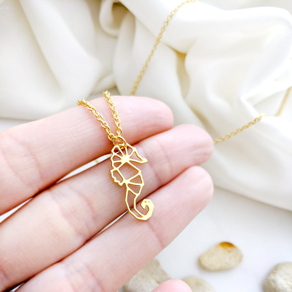 Load image into Gallery viewer, Origami Seahorse necklace Gold / Silver - Shany Design Studio Jewellery Shop