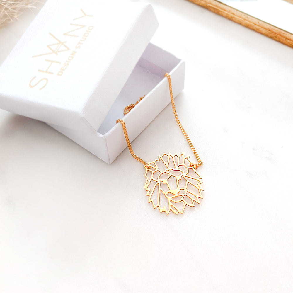 Geometric Lion Head Necklace Gold / Silver - Shany Design Studio Jewellery Shop