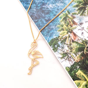 Flamingo Necklace Gold / Silver Geometric origami syle - Shany Design Studio Jewellery Shop