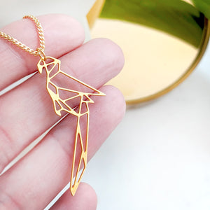 Origami Parrot Necklace Gold / Silver - Shany Design Studio Jewellery Shop