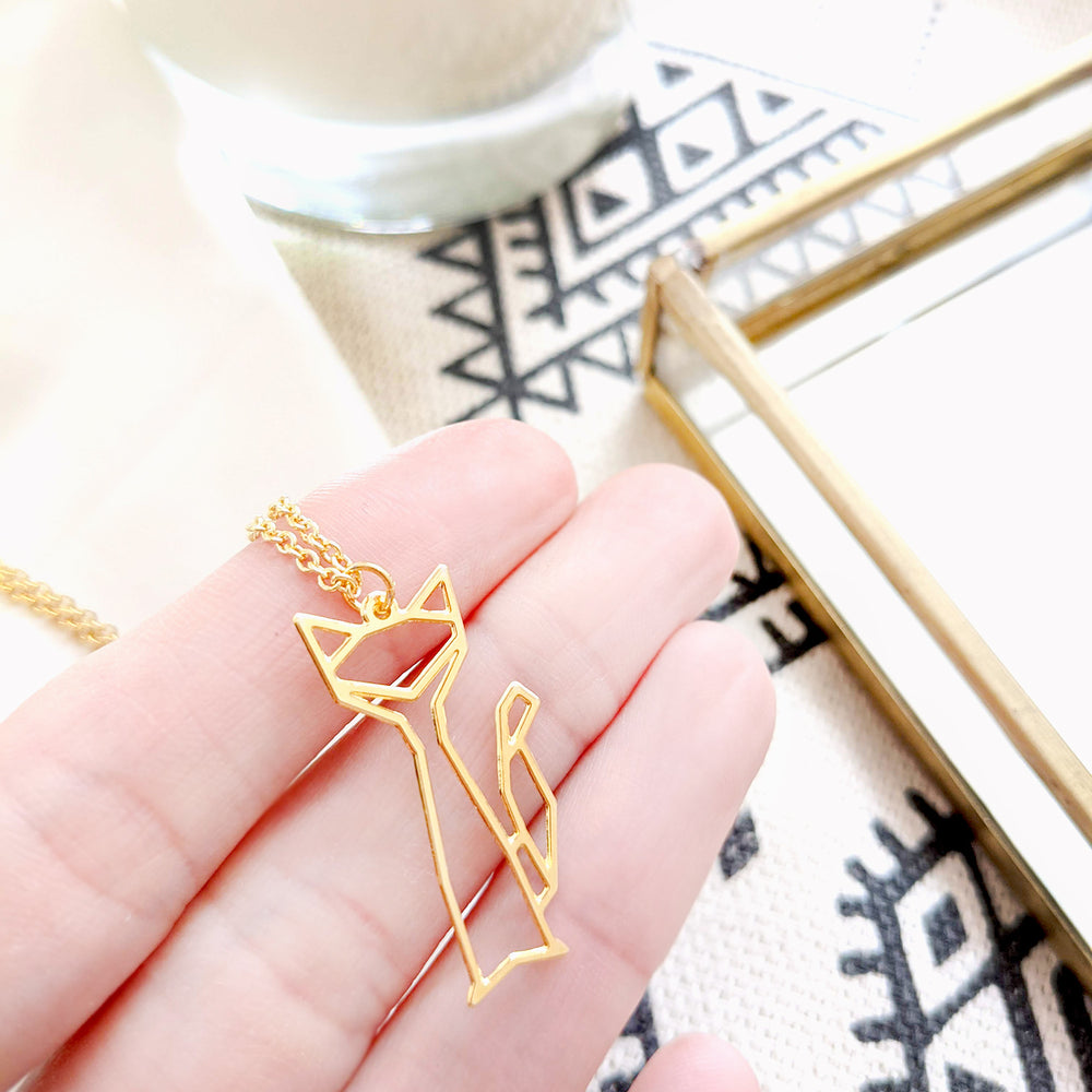 Geometric Cat Necklace Gold / Silver - Shany Design Studio Jewellery Shop
