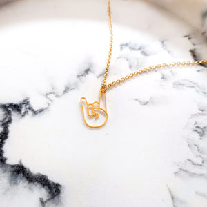 Rock On Hand sign Necklace Gold / Silver - Shany Design Studio Jewellery Shop
