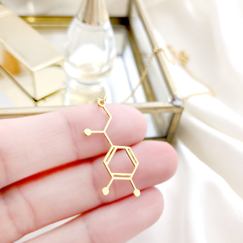 Load image into Gallery viewer, Dopamine Molecule Necklace Gold / Silver - Shany Design Studio Jewellery Shop