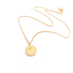 Moon and stars Medallion Coin Necklace Gold / Silver - Shany Design Studio Jewellery Shop