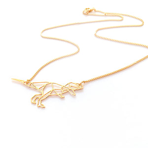 Load image into Gallery viewer, Dinosaur Necklace Origami Gold / Silver - Shany Design Studio Jewellery Shop