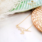 Dinosaur Necklace Origami Gold / Silver