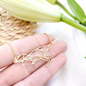 Dinosaur Necklace Origami Gold / Silver - Shany Design Studio Jewellery Shop