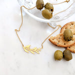 Olive Leaves Branch Necklace Gold / Silver