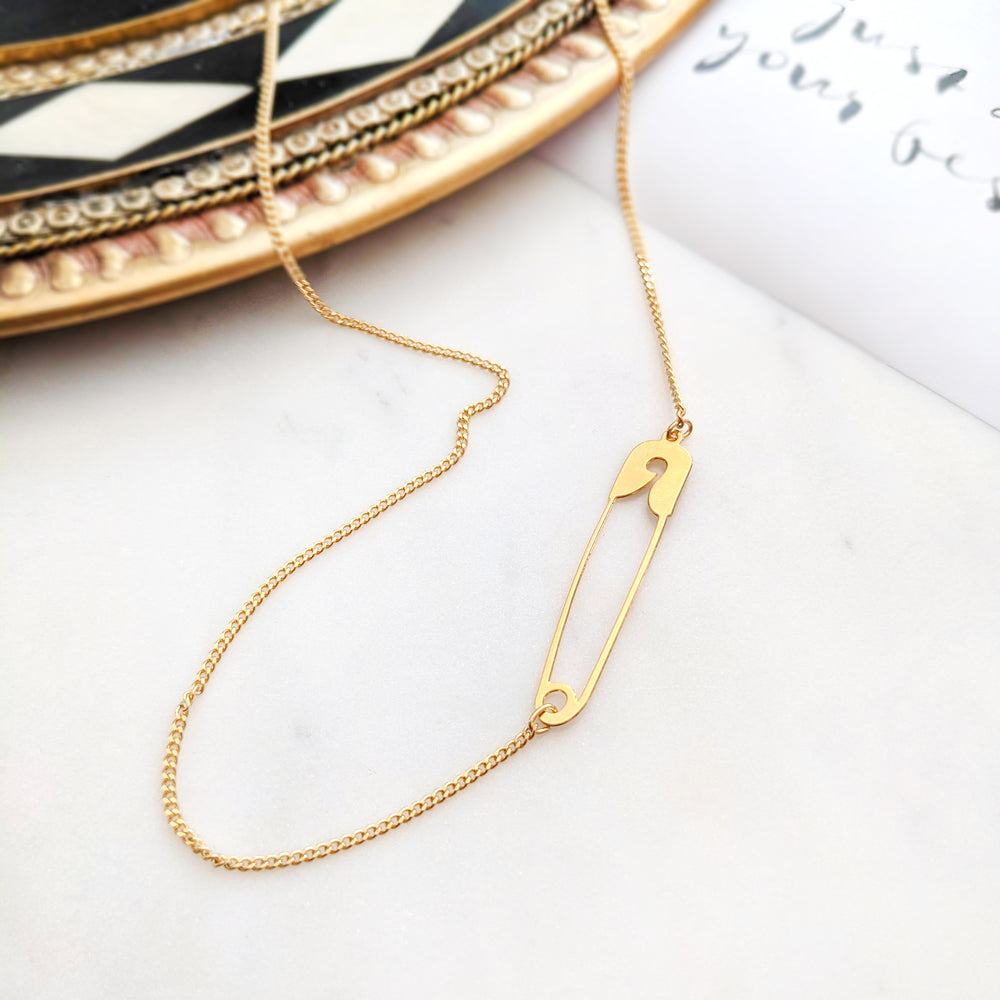 Safety Pin Necklace Gold / Silver - Shany Design Studio Jewellery Shop