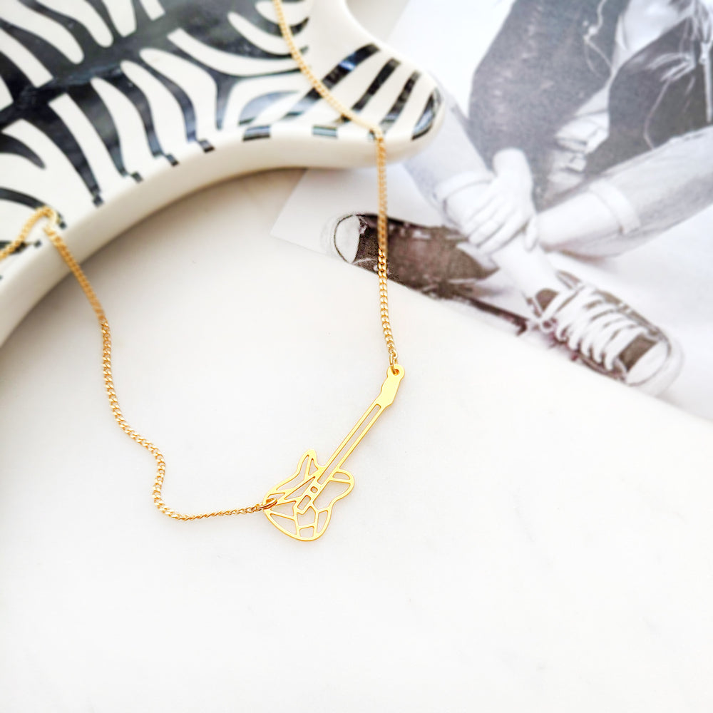 Guitar Necklace Gold / Silver - Shany Design Studio Jewellery Shop