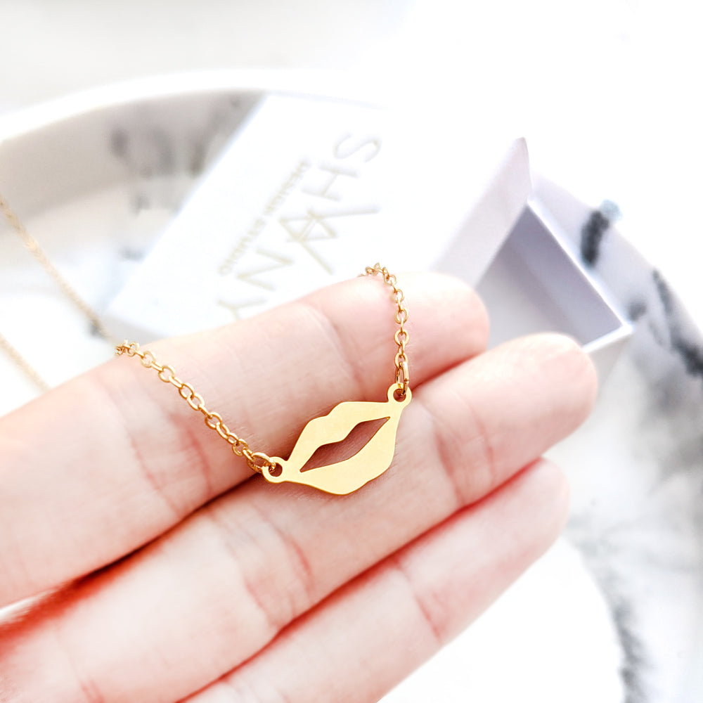 Tiny Lips Kiss Necklace Gold / Silver - Shany Design Studio Jewellery Shop