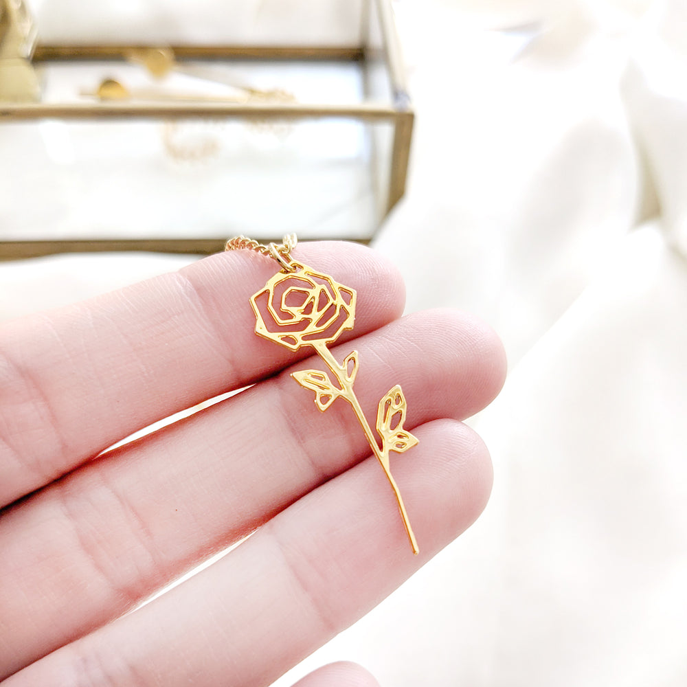 Rose Flower Necklace Gold / Silver