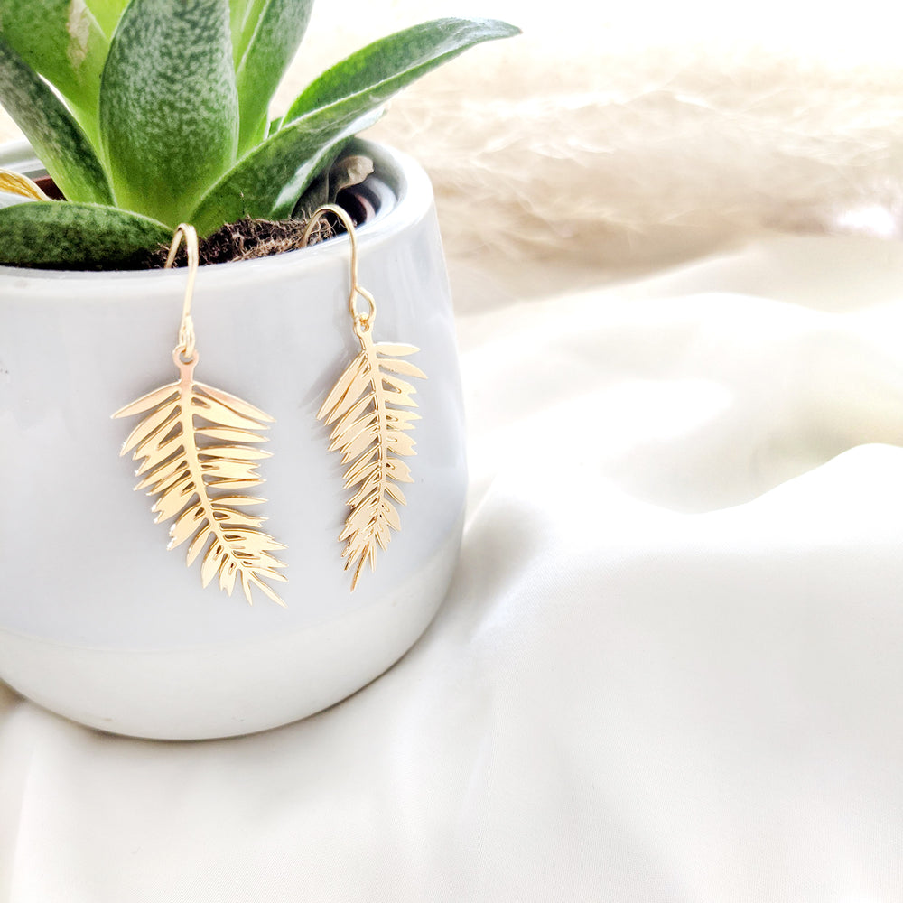 Load image into Gallery viewer, Palm Leaf Earrings Gold/ Silver - Shany Design Studio Jewellery Shop
