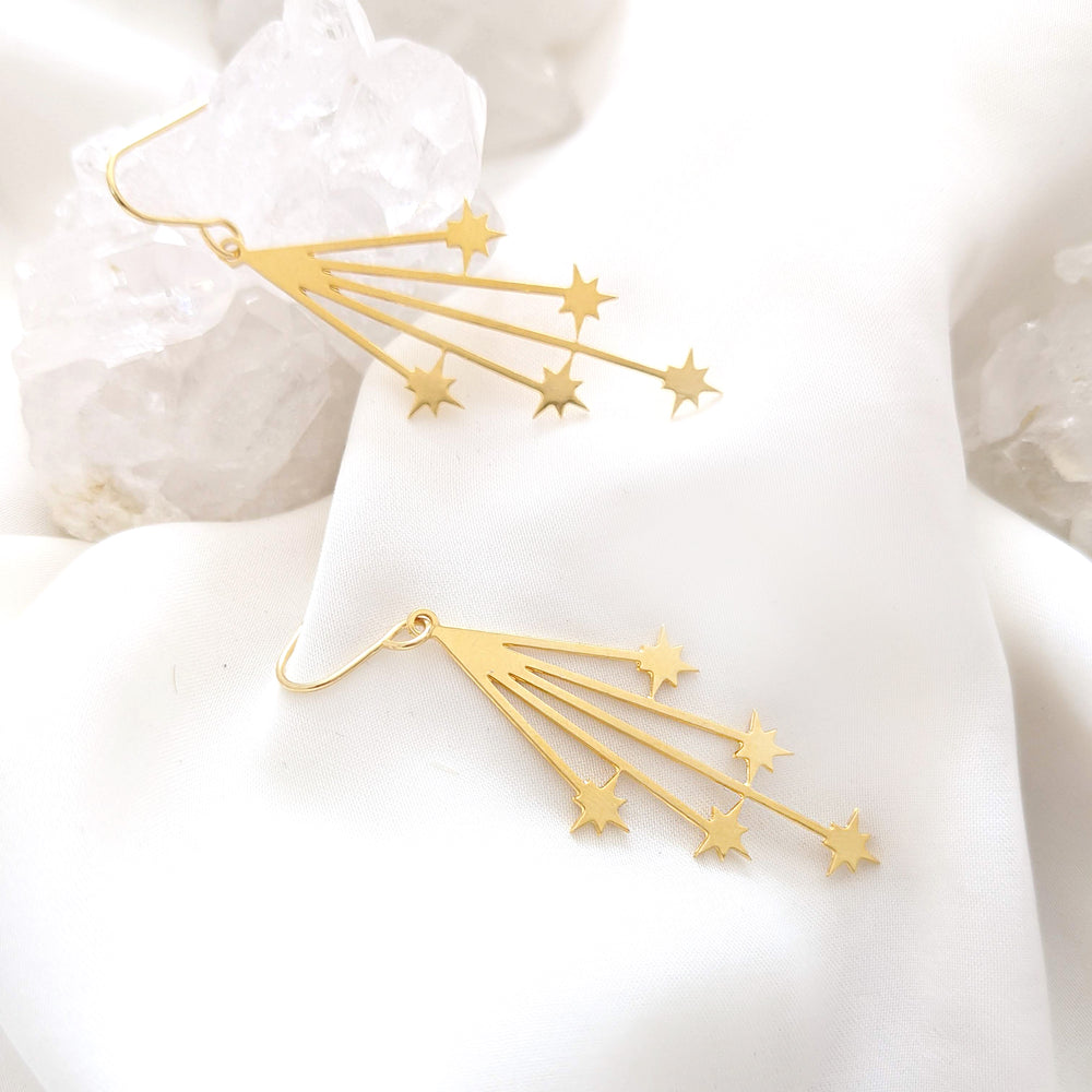 Falling stars Earrings, shooting stars earrings Gold/ Silver