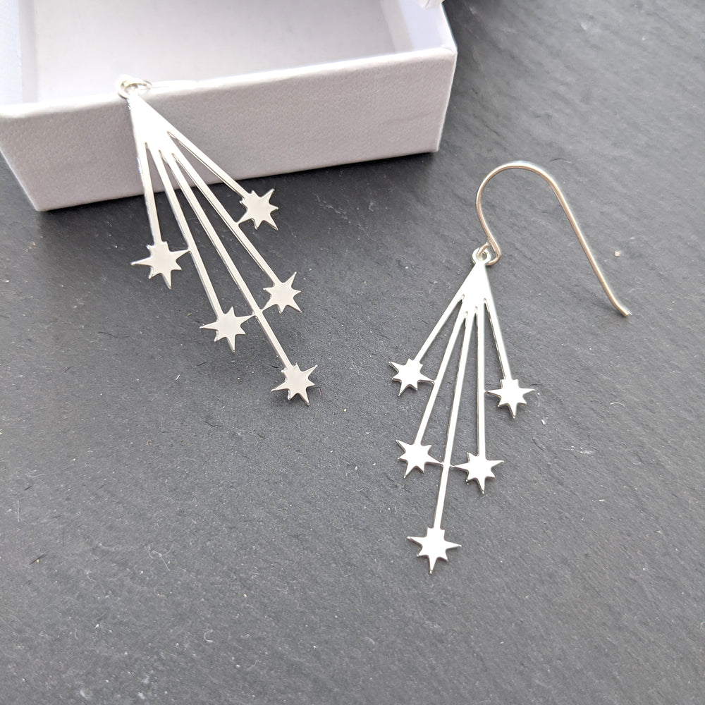 Load image into Gallery viewer, Falling stars Earrings, shooting stars earrings Gold/ Silver - Shany Design Studio Jewellery Shop
